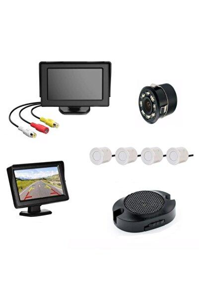 Mfk Kameralı Park Sensörü 4.3' Komple +4 Adet Sensör Beyaz