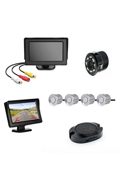 Mfk Kameralı Park Sensörü 4.3' Komple +4 Adet Sensör Gri