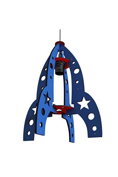 Zerx Mavi Roket Füze Çocuk Odası Bebek Odası Avize Sarkıt