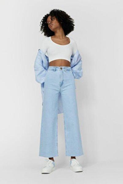 Kadın Mavi Dikişsiz Crop Fit Jean 01164887