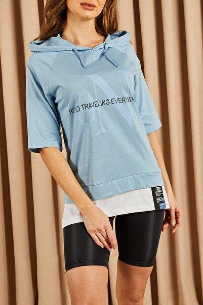 Hadise Kapşonlu Yazılı Tshirt Mavi