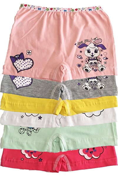 Tutku Iç Giyim Kız Çocuk Renkli Likralı Pamuk Boxer Külot 6 Lı Pa