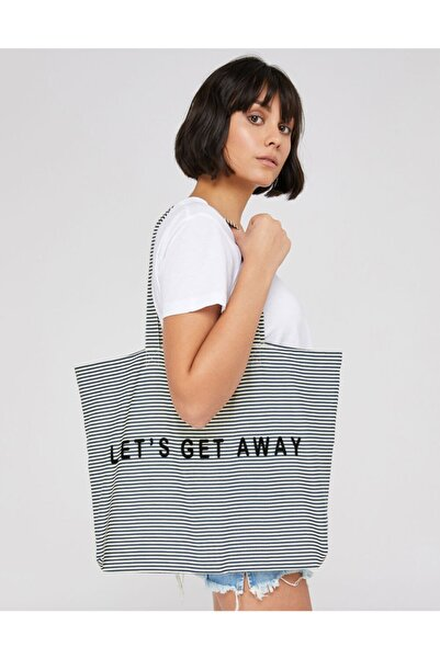 Accessorize Let's Get Away Slogan Çizgili Shopper Çanta