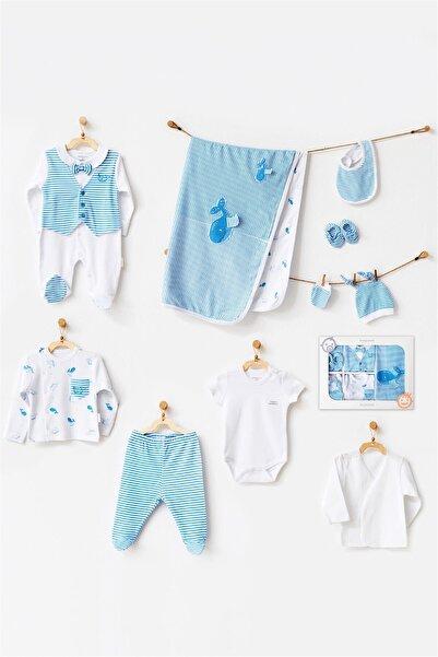 andywawa Erkek Bebek Mavi Cute Whale 10'lu Hastane Çıkış Seti Ac21541