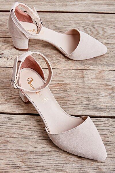 Bambi Bej Süet Kadın Klasik Topuklu Ayakkabı K01503720072