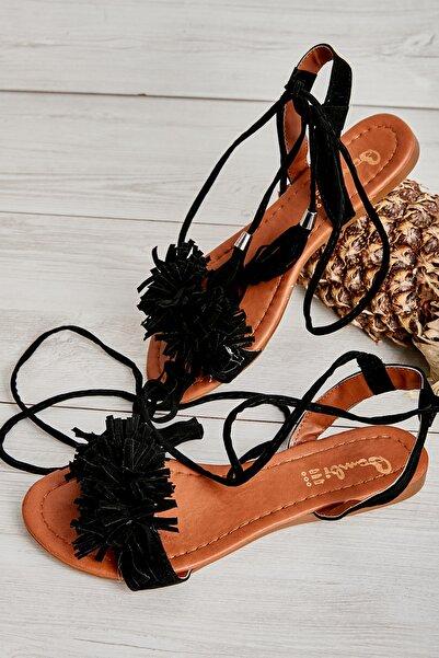 Bambi Siyah Süet Kadın Sandalet K05503172572