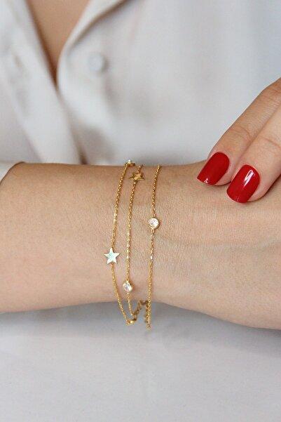 Argentum Concept Kadın Altın Kaplamalı Gümüş Yıldızlı Ve Taşlı Üç Zincirli Bileklik - B080701
