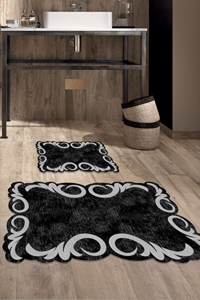 colizon 60x90 - 50x60 Black & Grey Dijital Banyo Halısı Lazer Kesim Klozet Takımı 2'li Paspas Seti