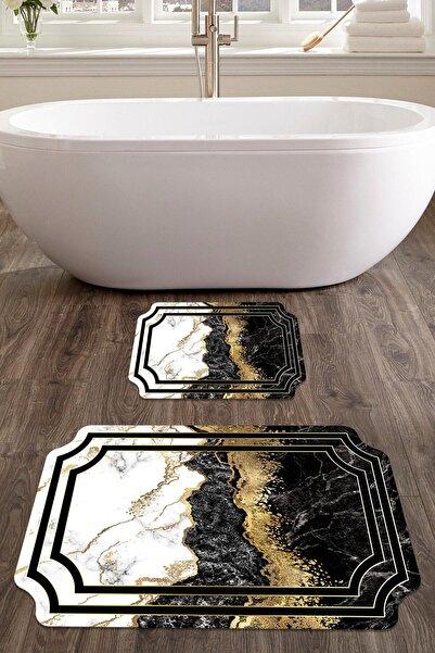 colizon 60x90 - 50x60 Prestij Dijital Banyo Halısı Lazer Kesim Klozet Takımı 2'li Paspas Seti