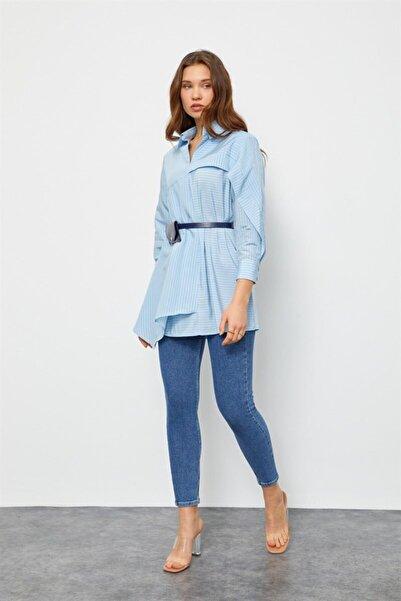 Setre Kadın Mavi Kemerli Gömlek Tunik