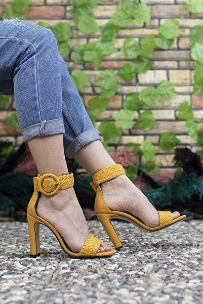 Riccon Kadın Sarı Yüksek Topuklu Ayakkabı 0012909