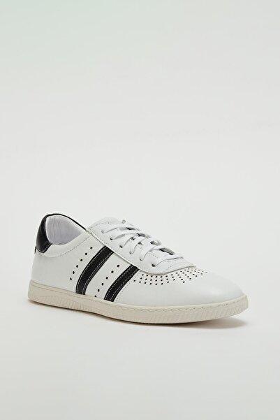 MUGGO Erkek Beyaz Hakiki Deri Sneaker Mgoslo04