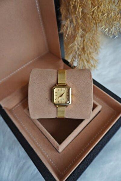 Kadın Gold Hasır Çelik Kordon Vintage Kol Saati