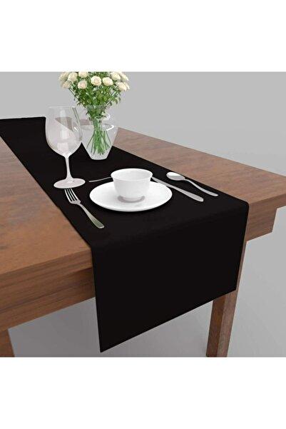 LEPTİS Siyah Dekoratif Özel Tasarım Runner Masa Örtüsü 40 X 150 cm