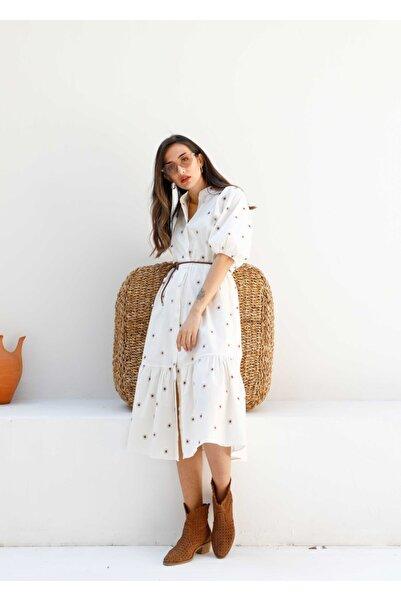 The All Brands Balon Kol Çiçekli Beyaz Elbise