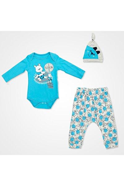 Miniworld Look Ayıcık Badili Bebek Takımı 3 Parça - Mavi