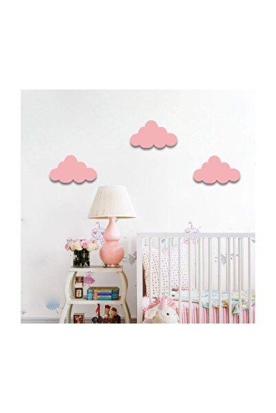 Babyroom Ahşap Pembe Bulut 3 Lü Set