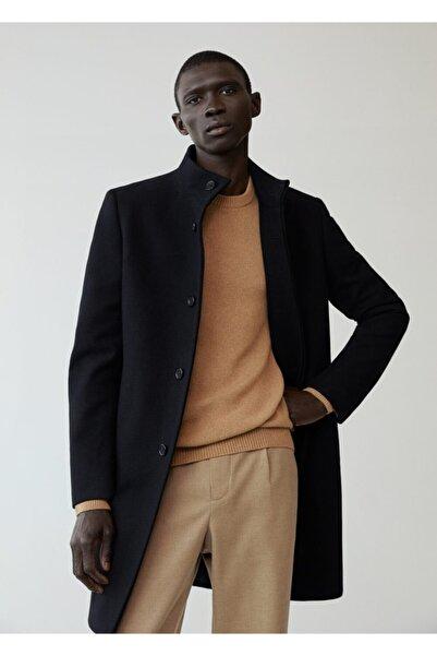 MANGO Man Erkek Siyah Yün Palto