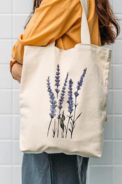 Çınar Bez Çanta Kanvas Yeşil Dallı Mavi Çiçekler Baskılı Bez Çanta