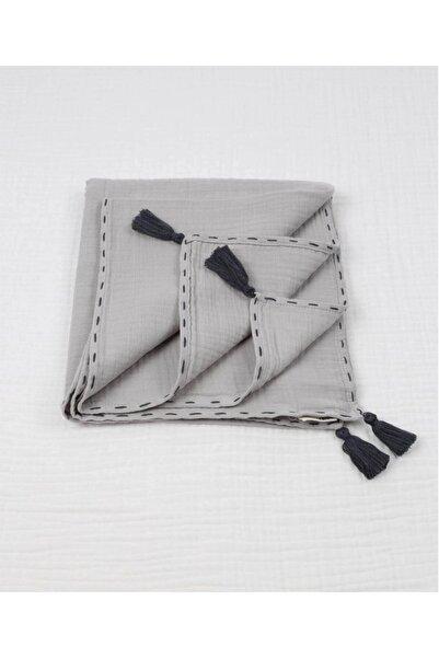 Cigit Püsküllü Müslin Battaniye (yıkanmış) 100x100 Cm +/- 2 Cm Gri