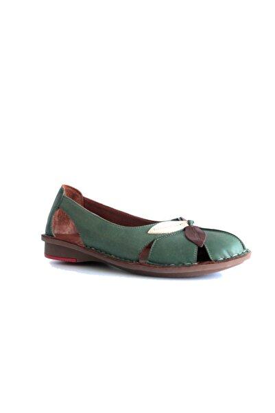 Beta Shoes Hakiki Deri Kadın Günlük Ayakkabı Yeşil
