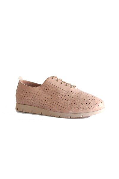 Beta Shoes Hakiki Deri Kadın Günlük Ayakkabı Pudra