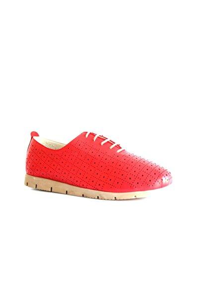 Beta Shoes Hakiki Deri Kadın Günlük Ayakkabı Kırmızı