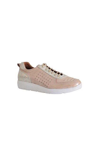Beta Shoes Hakiki Deri Kadın Sneaker Simli Ayakkabı Pembe