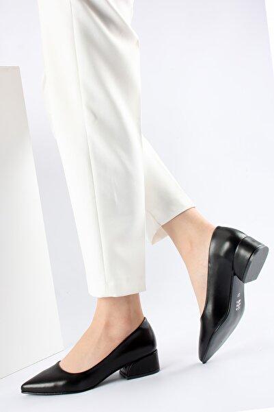 FORS SHOES Siyah Cilt Topuklu Ayakkabı 3 Cm