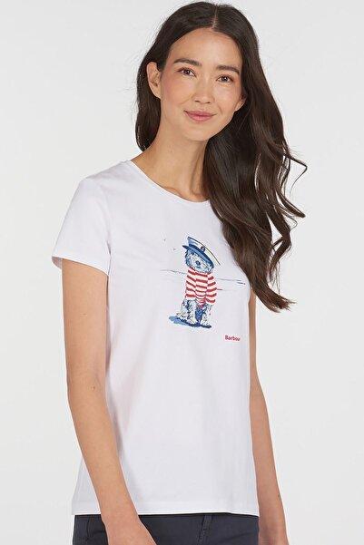Barbour Kadın Beyaz Baskılı T-Shirt