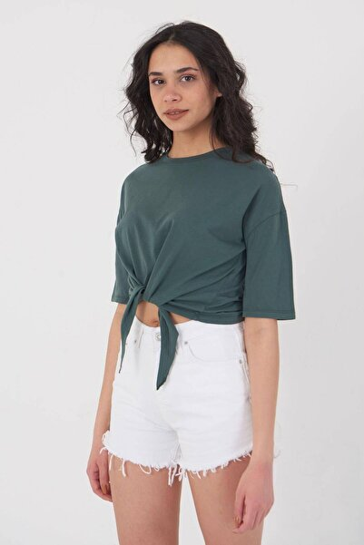 Addax Önden Bağlamalı Basic T-shirt P9306 - K3