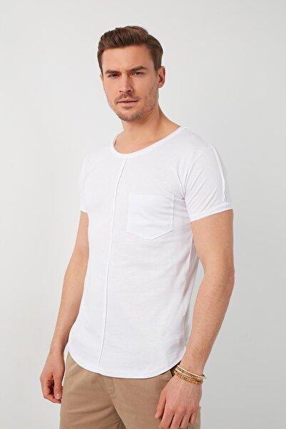 Buratti Erkek Beyaz Pamuklu Bisiklet Yaka Cepli T-Shirt