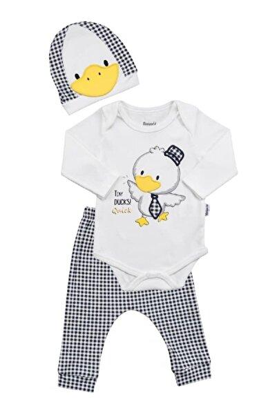 Miniworld Erkek Bebek Ekru Kravatlı Ördek Bady Takım 3'lü