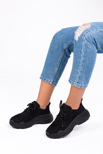 ESPARDİLE Kadın Siyah Süet Spor Ayakkabı