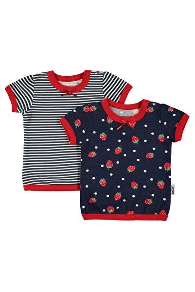 Kujju Kız Bebek Lacivert 2'li Tişört