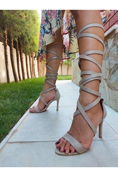 Venüs Kadın Ten Süet Bantlı Klasik Topuklu Ayakkabı