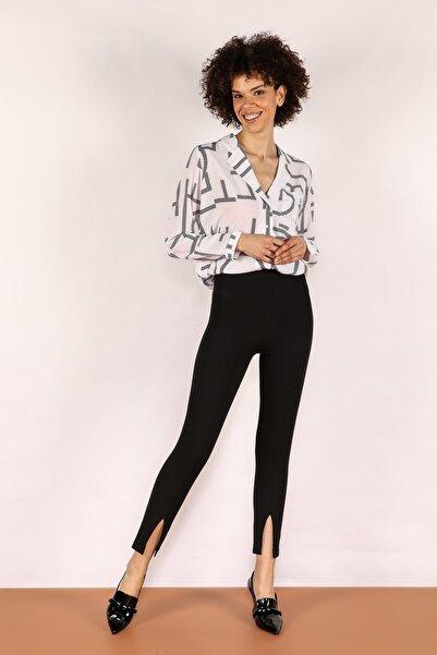 Quzu Kadın Siyah Yırtmaçlı Pantolon