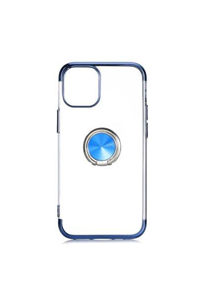 Nezih Case Apple Iphone 12 Pro Max Uyumlu Yüzüklü Standlı Lüx Silikon Kılıf Mavi Ve Nano Ekran Koruyucu