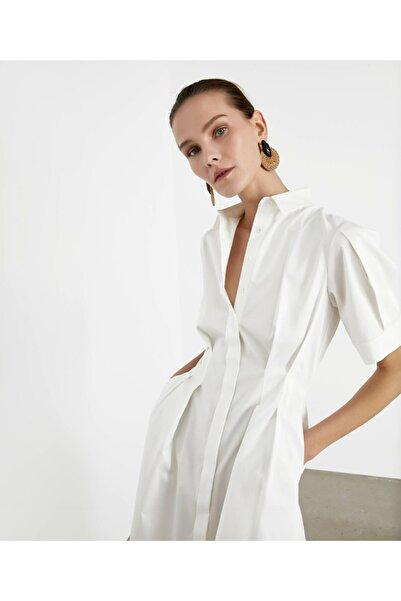 İpekyol Kadın Beyaz Pilili Poplin Elbise