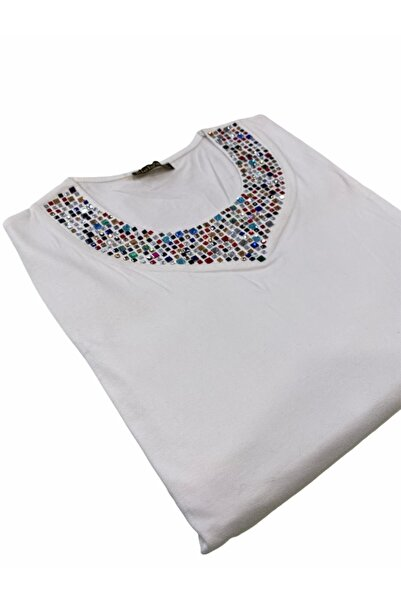 Elele Renkli Taş Baskı 0 Yaka Beyaz Anne Penye Bluz