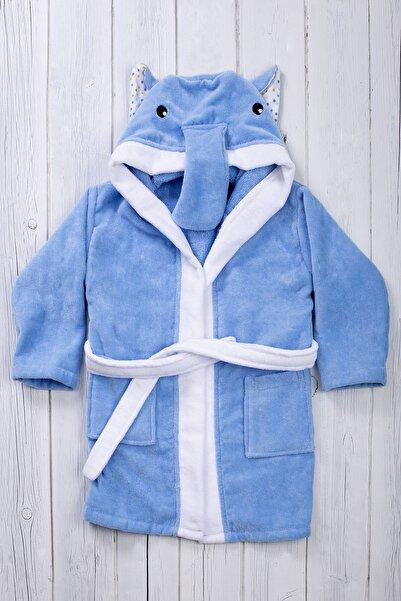 Denia Home Unisex Çocuk Mavi Kapüşonlu Bornoz