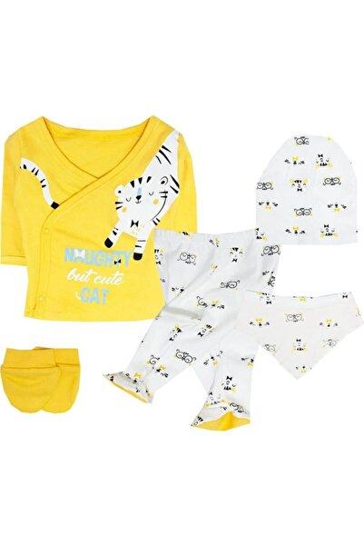 Nonna Baby Unisex Bebek Kaplanlı Sarı Hastane Çıkışı Set 5 Li