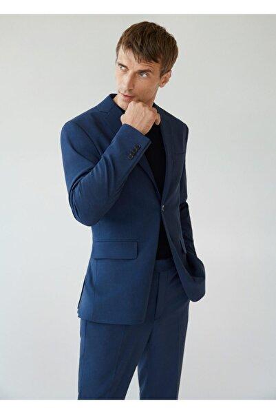MANGO Man Erkek Mavi Dar Kesimli Mini Dokuma Blazer Ceket