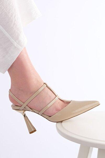Marjin Kadın Bej Rugan Günlük Topuklu Ayakkabı
