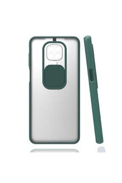 E TicaShop Xiaomi Redmi Note 9s / 9 Pro Kılıf Kamera Lens Korumalı Sürgülü Mat Lüx Kılıf Haki Yeşil