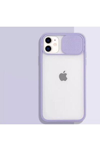 ESNAFSTORE Iphone 11 Uyumlu Kamera Koruyuculu Lila Kılıf Slayt Korumalı Şeffaf Telefon Kılıfı