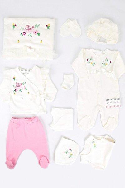 İmaj Beyaz Kanaviçeli Krem Kız Bebek 10lu Hastane Çıkışı