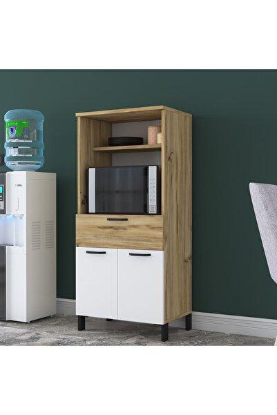 Rani Mobilya Rani F5 Çok Amaçlı Dolap 2 Kapaklı 3 Raflı 1 Çekmeceli Banyo Balkon Mutfak Dolabı keçe Ceviz Beyaz