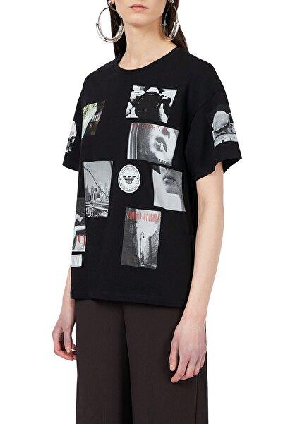 Emporio Armani Kadın Siyah Baskılı Bisiklet Yaka  T-Shirt