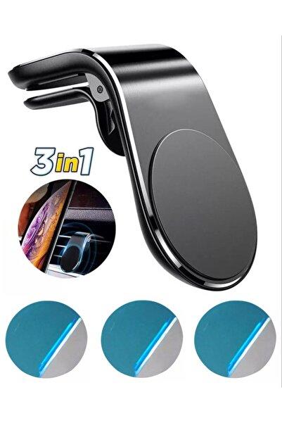 ucuzmi Araç Içi Telefon Tutucu Neodyum Mıknatıslı Siyah Renk 3 Adet Metal Plakalı Klima Menfez Uyumlu 3in1